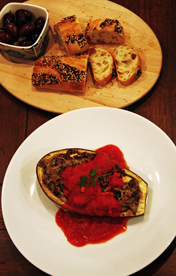 Stuffed Eggplant with Ground Lamb